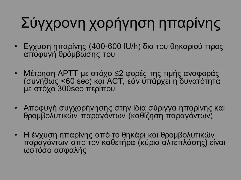 Σύγχρονη χορήγηση ηπαρίνης Εγχυση ηπαρίνης (400-600 ΙU/h) δια του θηκαριού προς αποφυγή θρόμβωσης του Μέτρηση APTT με στόχο ≤2 φορές της τιμής αναφοράς (συνήθως <60 sec) και ΑCT, εάν υπάρχει η δυνατότητα με στόχο 300sec περίπου Αποφυγή συγχορήγησης στην ίδια σύριγγα ηπαρίνης και θρομβολυτικών παραγόντων (καθίζηση παραγόντων) Η έγχυση ηπαρίνης από το θηκάρι και θρομβολυτικών παραγόντων απο τον καθετήρα (κύρια αλτεπλάσης) είναι ωστόσο ασφαλής