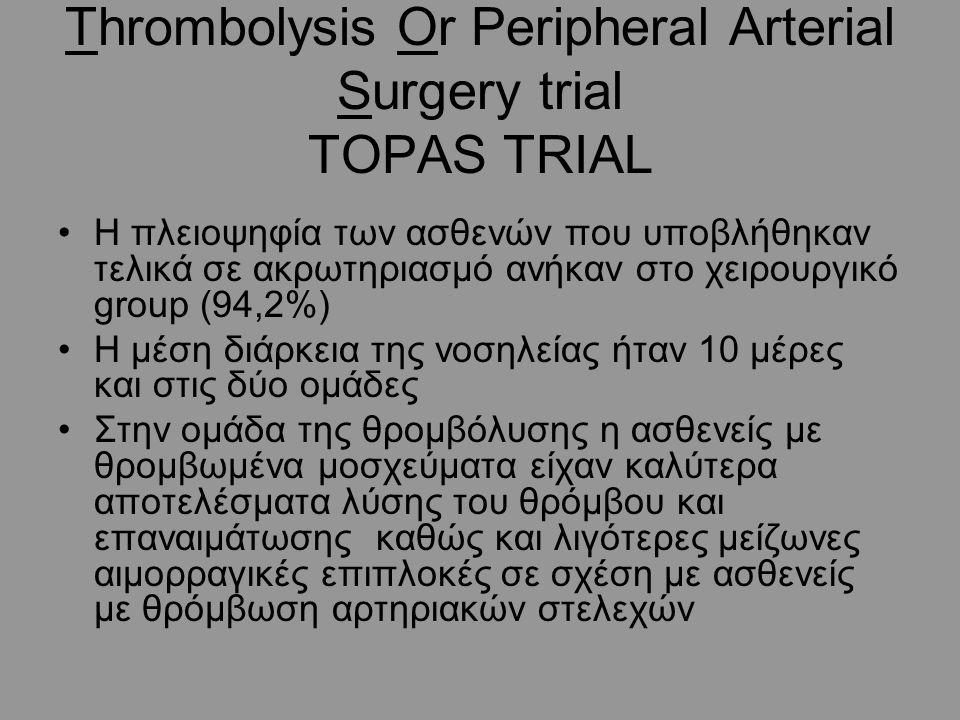 Thrombolysis Or Peripheral Arterial Surgery trial TOPAS TRIAL Η πλειοψηφία των ασθενών που υποβλήθηκαν τελικά σε ακρωτηριασμό ανήκαν στο χειρουργικό group (94,2%) Η μέση διάρκεια της νοσηλείας ήταν 10 μέρες και στις δύο ομάδες Στην ομάδα της θρομβόλυσης η ασθενείς με θρομβωμένα μοσχεύματα είχαν καλύτερα αποτελέσματα λύσης του θρόμβου και επαναιμάτωσης καθώς και λιγότερες μείζωνες αιμορραγικές επιπλοκές σε σχέση με ασθενείς με θρόμβωση αρτηριακών στελεχών