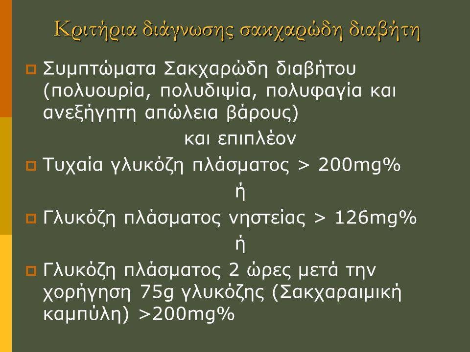 Κριτήρια διάγνωσης σακχαρώδη διαβήτη  Συμπτώματα Σακχαρώδη διαβήτου (πολυουρία, πολυδιψία, πολυφαγία και ανεξήγητη απώλεια βάρους) και επιπλέον  Τυχαία γλυκόζη πλάσματος > 200mg% ή  Γλυκόζη πλάσματος νηστείας > 126mg% ή  Γλυκόζη πλάσματος 2 ώρες μετά την χορήγηση 75g γλυκόζης (Σακχαραιμική καμπύλη) >200mg%