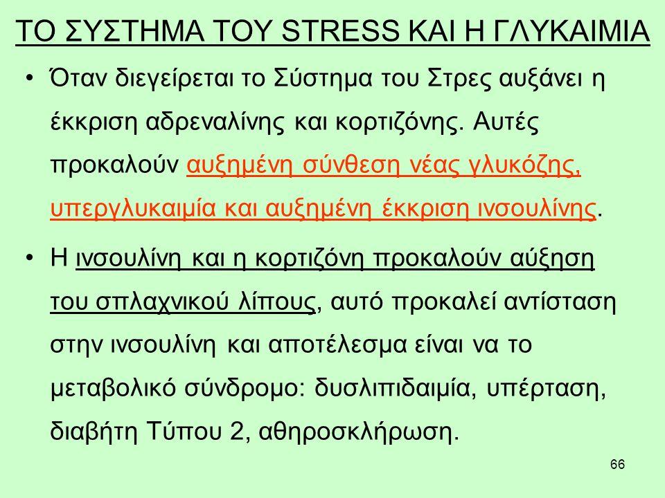 66 ΤΟ ΣΥΣΤΗΜΑ ΤΟΥ STRESS ΚΑΙ Η ΓΛΥΚΑΙΜΙΑ Όταν διεγείρεται το Σύστημα του Στρες αυξάνει η έκκριση αδρεναλίνης και κορτιζόνης.