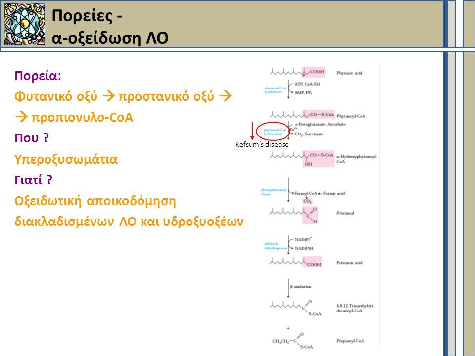 Πορεία: Φυτανικό οξύ  προστανικό οξύ   προπιονυλο-CoA Που .