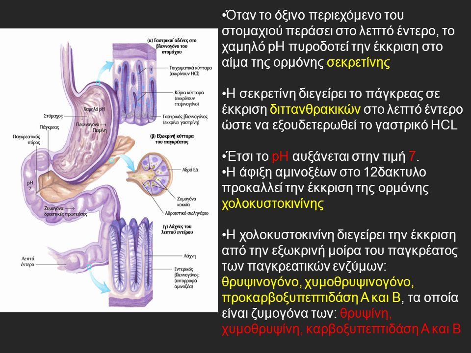 Όταν το όξινο περιεχόμενο του στομαχιού περάσει στο λεπτό έντερο, το χαμηλό pH πυροδοτεί την έκκριση στο αίμα της ορμόνης σεκρετίνης Η σεκρετίνη διεγείρει το πάγκρεας σε έκκριση διττανθρακικών στο λεπτό έντερο ώστε να εξουδετερωθεί το γαστρικό HCL Έτσι το pH αυξάνεται στην τιμή 7.