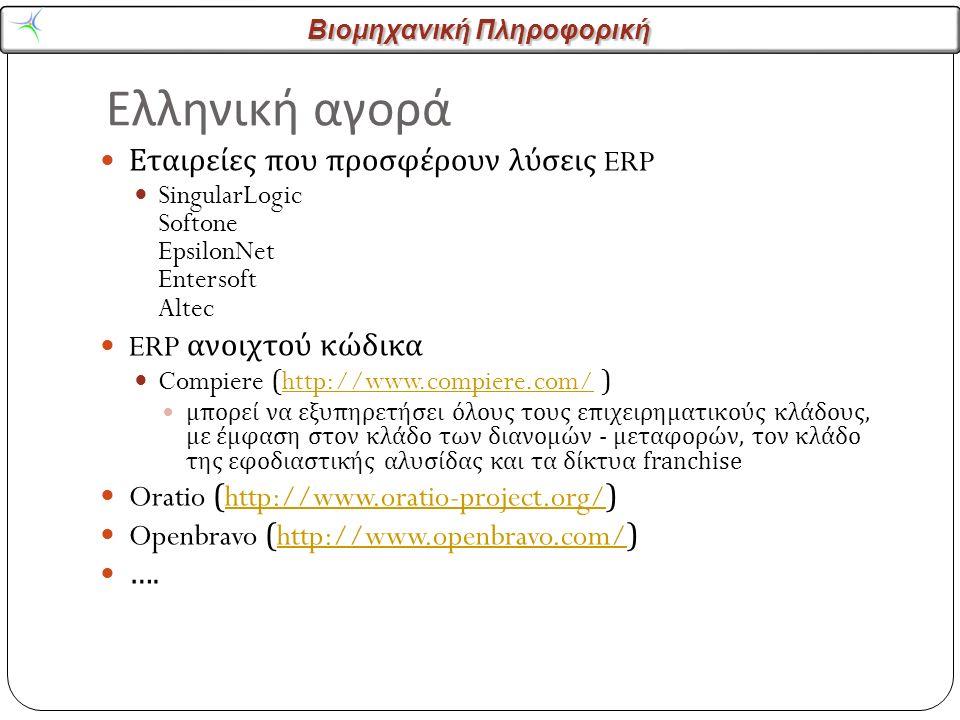 Βιομηχανική Πληροφορική Ελληνική αγορά Εταιρείες που προσφέρουν λύσεις ERP SingularLogic Softone EpsilonNet Entersoft Altec ERP ανοιχτού κώδικα Compiere (http://www.compiere.com/ )http://www.compiere.com/ μπορεί να εξυπηρετήσει όλους τους επιχειρηματικούς κλάδους, με έμφαση στον κλάδο των διανομών - μεταφορών, τον κλάδο της εφοδιαστικής αλυσίδας και τα δίκτυα franchise Oratio (http://www.oratio-project.org/)http://www.oratio-project.org/ Openbravo (http://www.openbravo.com/)http://www.openbravo.com/ ….