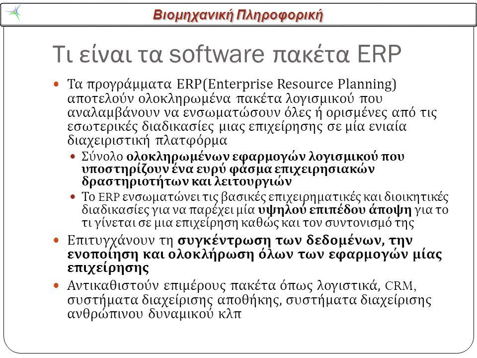 Βιομηχανική Πληροφορική Τι είναι τα software πακέτα ERP Τα προγράμματα ERP(Enterprise Resource Planning) αποτελούν ολοκληρωμένα πακέτα λογισμικού που αναλαμβάνουν να ενσωματώσουν όλες ή ορισμένες από τις εσωτερικές διαδικασίες μιας επιχείρησης σε μία ενιαία διαχειριστική πλατφόρμα Σύνολο ολοκληρωμένων εφαρμογών λογισμικού που υποστηρίζουν ένα ευρύ φάσμα επιχειρησιακών δραστηριοτήτων και λειτουργιών Το ERP ενσωματώνει τις βασικές επιχειρηματικές και διοικητικές διαδικασίες για να παρέχει μία υψηλού επιπέδου άποψη για το τι γίνεται σε μια επιχείρηση καθώς και τον συντονισμό της Επιτυγχάνουν τη συγκέντρωση των δεδομένων, την ενοποίηση και ολοκλήρωση όλων των εφαρμογών μίας επιχείρησης Αντικαθιστούν επιμέρους πακέτα όπως λογιστικά, CRM, συστήματα διαχείρισης αποθήκης, συστήματα διαχείρισης ανθρώπινου δυναμικού κλπ