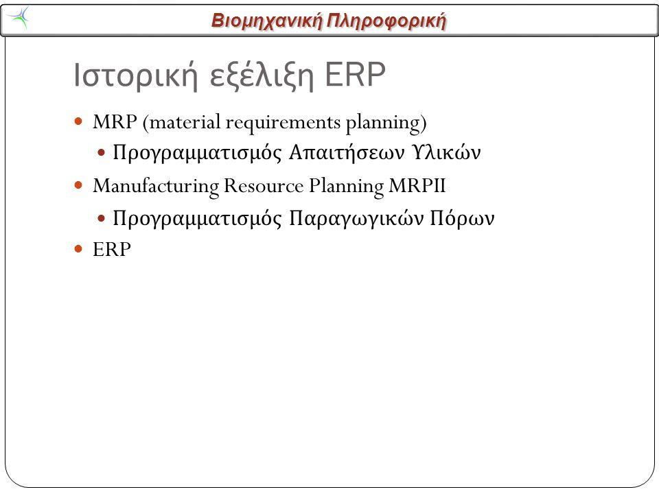 Βιομηχανική Πληροφορική Ιστορική εξέλιξη ERP MRP (material requirements planning) Προγραμματισμός Απαιτήσεων Υλικών Manufacturing Resource Planning MRPII Προγραμματισμός Παραγωγικών Πόρων ERP