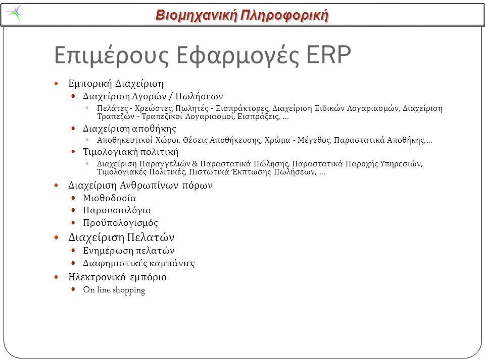 Βιομηχανική Πληροφορική Επιμέρους Εφαρμογές ERP Εμπορική Διαχείριση Διαχείριση Αγορών / Πωλήσεων Πελάτες - Χρεώστες, Πωλητές - Εισπράκτορες, Διαχείριση Ειδικών Λογαριασμών, Διαχείριση Τραπεζών - Τραπεζικοί Λογαριασμοί, Εισπράξεις, … Διαχείριση αποθήκης Αποθηκευτικοί Χώροι, Θέσεις Αποθήκευσης, Χρώμα - Μέγεθος, Παραστατικά Αποθήκης,… Τιμολογιακή πολιτική Διαχείριση Παραγγελιών & Παραστατικά Πώλησης, Παραστατικά Παροχής Υπηρεσιών, Τιμολογιακές Πολιτικές, Πιστωτικά Έκπτωσης Πωλήσεων, … Διαχείριση Ανθρωπίνων πόρων Μισθοδοσία Παρουσιολόγιο Προϋπολογισμός Διαχείριση Πελατών Ενημέρωση πελατών Διαφημιστικές καμπάνιες Ηλεκτρονικό εμπόριο On line shopping