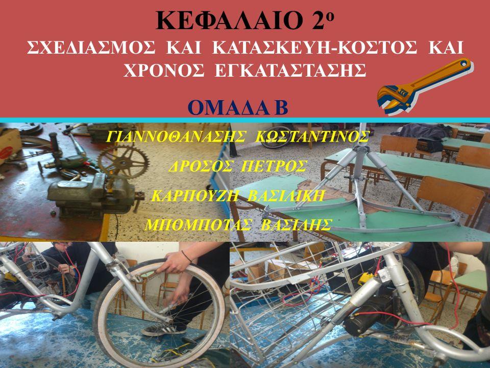 ΚΕΦΑΛΑΙΟ 2 ο ΣΧΕΔΙΑΣΜΟΣ ΚΑΙ ΚΑΤΑΣΚΕΥΗ-ΚΟΣΤΟΣ ΚΑΙ ΧΡΟΝΟΣ ΕΓΚΑΤΑΣΤΑΣΗΣ ΟΜΑΔΑ Β ΓΙΑΝΝΟΘΑΝΑΣΗΣ ΚΩΣΤΑΝΤΙΝΟΣ ΔΡΟΣΟΣ ΠΕΤΡΟΣ ΚΑΡΠΟΥΖΗ ΒΑΣΙΛΙΚΗ ΜΠΟΜΠΟΤΑΣ BΑΣΙΛΗΣ