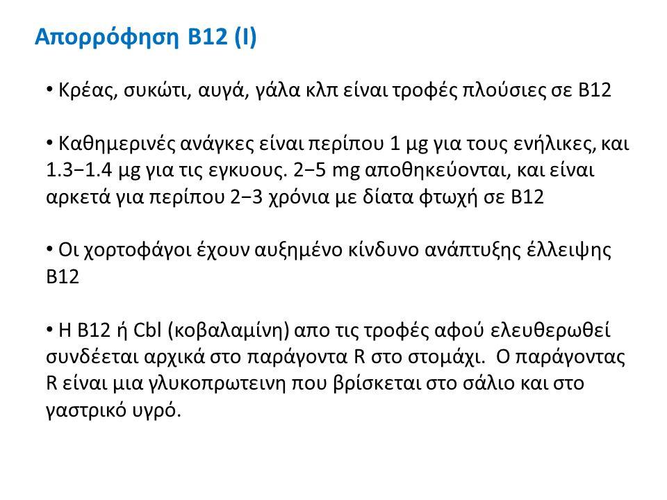 Απορρόφηση Β12 (Ι) Κρέας, συκώτι, αυγά, γάλα κλπ είναι τροφές πλούσιες σε B12 Καθημερινές ανάγκες είναι περίπου 1 μg για τους ενήλικες, και 1.3−1.4 μg