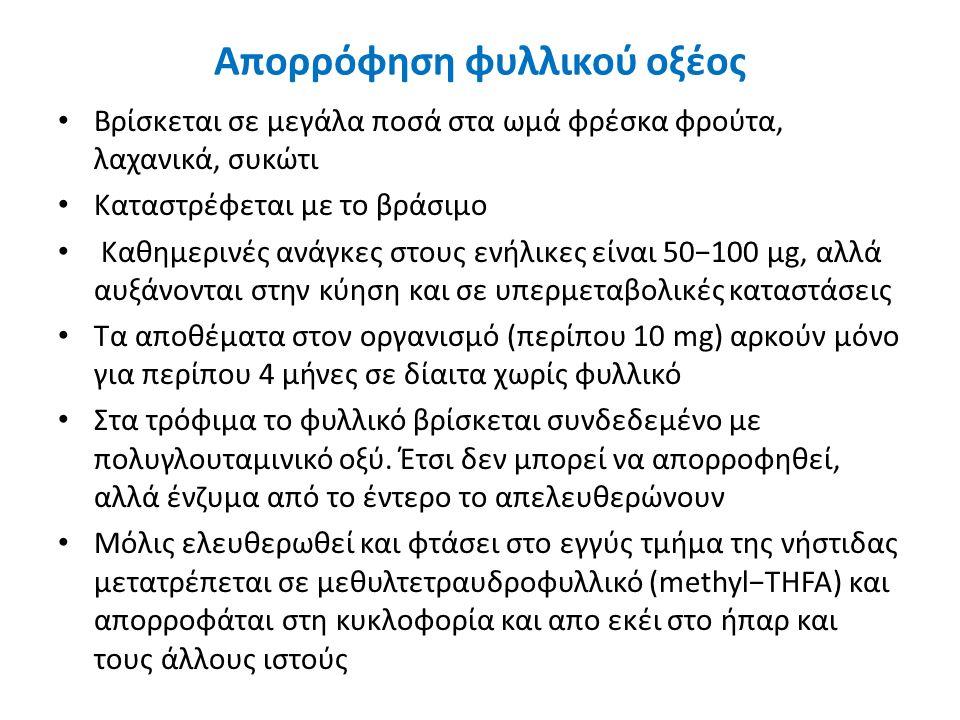 Απορρόφηση φυλλικού οξέος Βρίσκεται σε μεγάλα ποσά στα ωμά φρέσκα φρούτα, λαχανικά, συκώτι Καταστρέφεται με το βράσιμο Καθημερινές ανάγκες στους ενήλικες είναι 50−100 μg, αλλά αυξάνονται στην κύηση και σε υπερμεταβολικές καταστάσεις Τα αποθέματα στον οργανισμό (περίπου 10 mg) αρκούν μόνο για περίπου 4 μήνες σε δίαιτα χωρίς φυλλικό Στα τρόφιμα το φυλλικό βρίσκεται συνδεδεμένο με πολυγλουταμινικό οξύ.