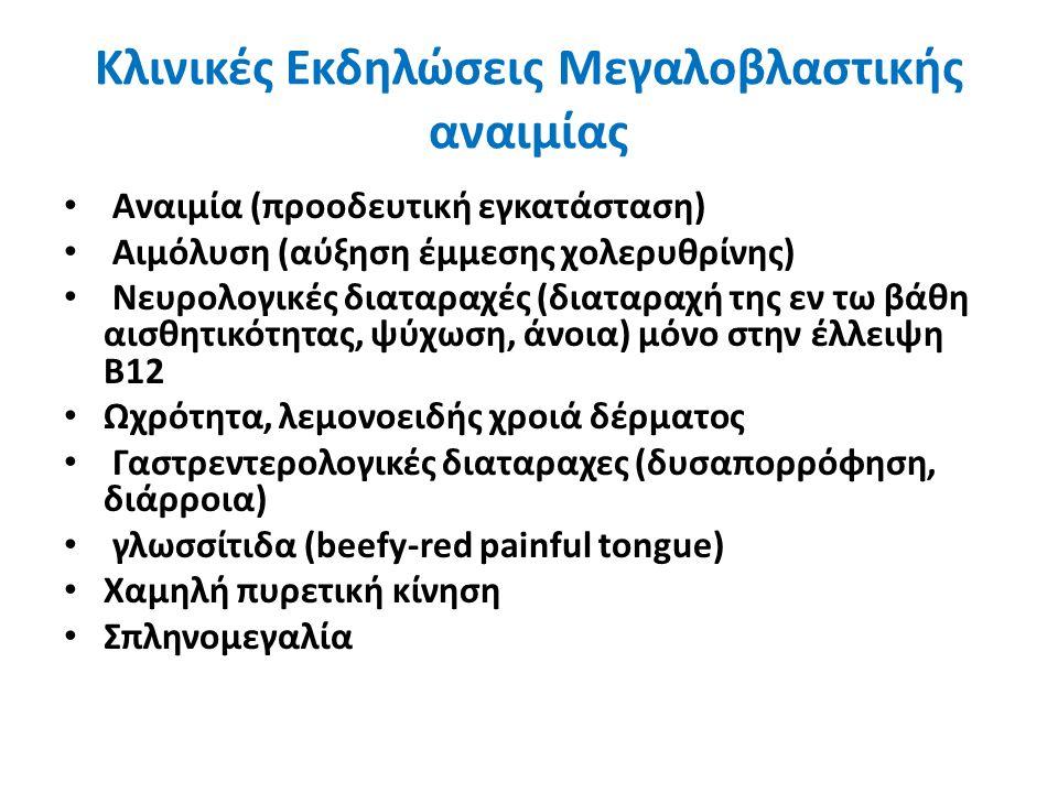 Κλινικές Εκδηλώσεις Μεγαλοβλαστικής αναιμίας Αναιμία (προοδευτική εγκατάσταση) Αιμόλυση (αύξηση έμμεσης χολερυθρίνης) Νευρολογικές διαταραχές (διαταραχή της εν τω βάθη αισθητικότητας, ψύχωση, άνοια) μόνο στην έλλειψη Β12 Ωχρότητα, λεμονοειδής χροιά δέρματος Γαστρεντερολογικές διαταραχες (δυσαπορρόφηση, διάρροια) γλωσσίτιδα (beefy-red painful tongue) Χαμηλή πυρετική κίνηση Σπληνομεγαλία