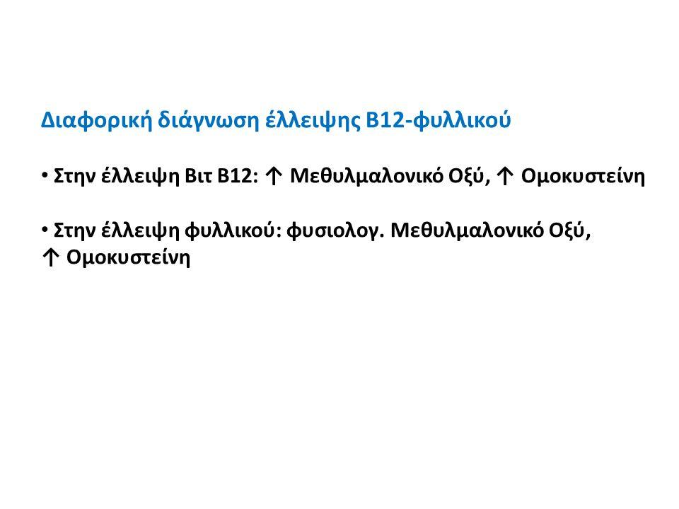 Διαφορική διάγνωση έλλειψης Β12-φυλλικού Στην έλλειψη Βιτ Β12: ↑ Μεθυλμαλονικό Οξύ, ↑ Ομοκυστείνη Στην έλλειψη φυλλικού: φυσιολογ. Μεθυλμαλονικό Οξύ,