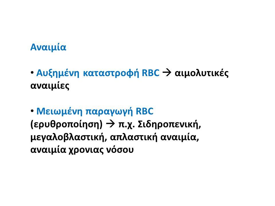 Aναιμία Αυξημένη καταστροφή RBC  αιμολυτικές αναιμίες Mειωμένη παραγωγή RBC (ερυθροποίηση)  π.χ. Σιδηροπενική, μεγαλοβλαστική, απλαστική αναιμία, αν