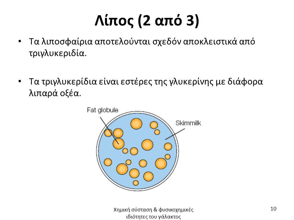 Λίπος (2 από 3) Τα λιποσφαίρια αποτελούνται σχεδόν αποκλειστικά από τριγλυκεριδία. Τα τριγλυκερίδια είναι εστέρες της γλυκερίνης με διάφορα λιπαρά οξέ