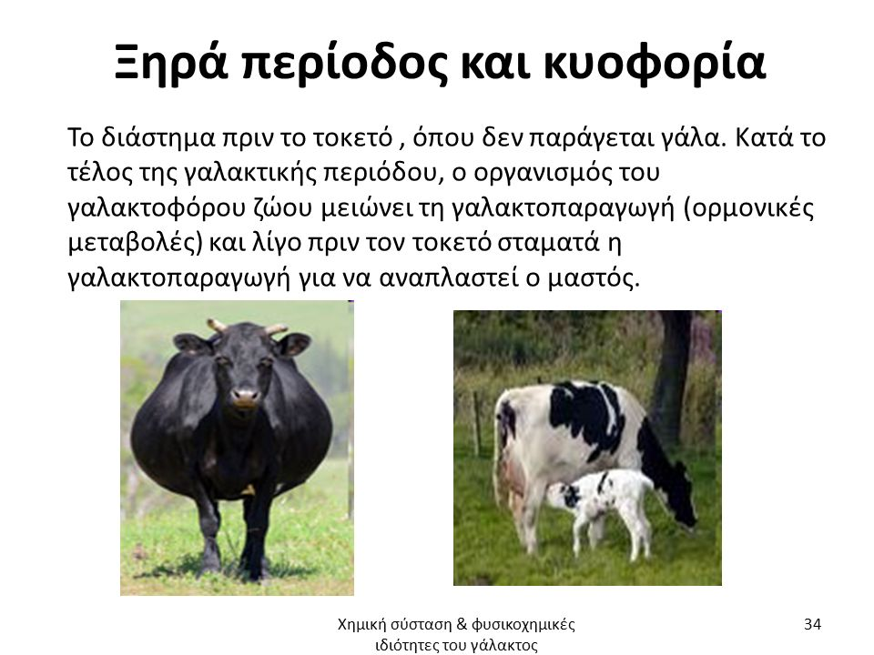 Ξηρά περίοδος και κυοφορία Το διάστημα πριν το τοκετό, όπου δεν παράγεται γάλα. Κατά το τέλος της γαλακτικής περιόδου, ο οργανισμός του γαλακτοφόρου ζ