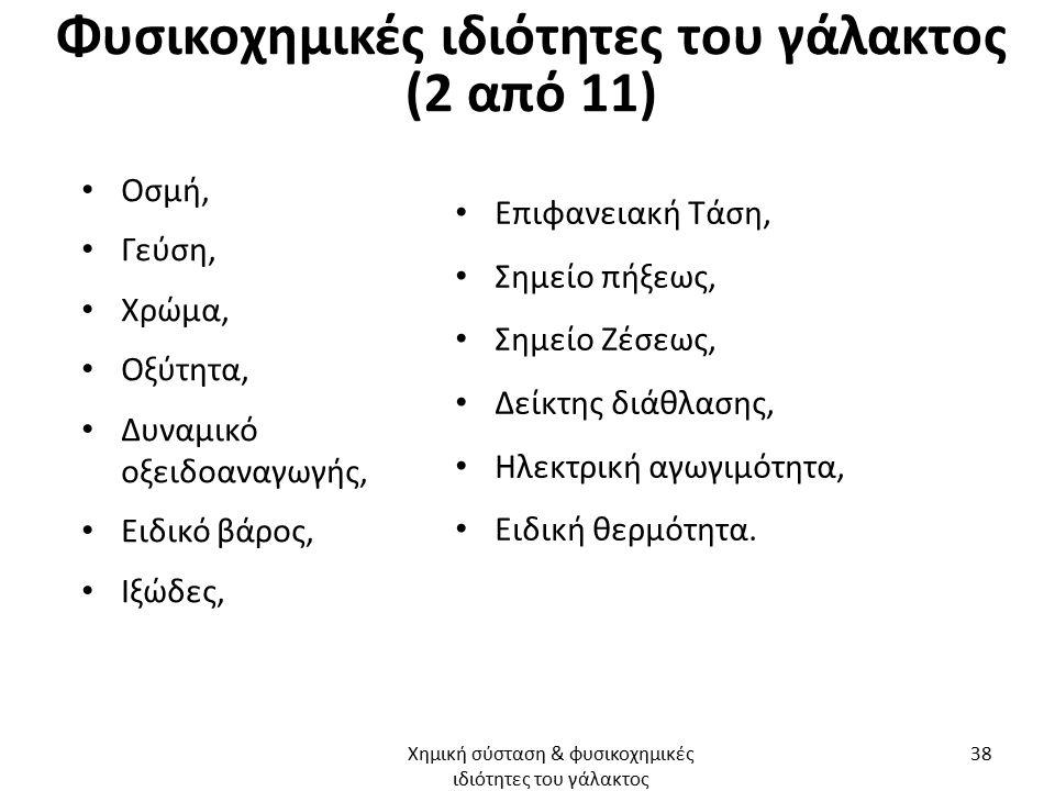 Φυσικοχημικές ιδιότητες του γάλακτος (2 από 11) Οσμή, Γεύση, Χρώμα, Οξύτητα, Δυναμικό οξειδοαναγωγής, Ειδικό βάρος, Ιξώδες, Επιφανειακή Τάση, Σημείο π