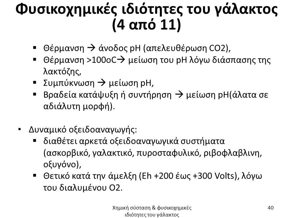 Φυσικοχημικές ιδιότητες του γάλακτος (4 από 11)  Θέρμανση  άνοδος pH (απελευθέρωση CO2),  Θέρμανση >100οC  μείωση του pH λόγω διάσπασης της λακτόζης,  Συμπύκνωση  μείωση pH,  Βραδεία κατάψυξη ή συντήρηση  μείωση pH(άλατα σε αδιάλυτη μορφή).