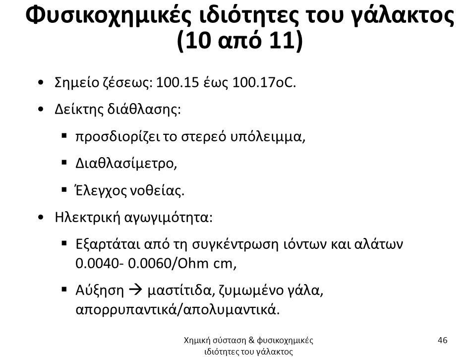 Φυσικοχημικές ιδιότητες του γάλακτος (10 από 11) Σημείο ζέσεως: 100.15 έως 100.17οC. Δείκτης διάθλασης:  προσδιορίζει το στερεό υπόλειμμα,  Διαθλασί
