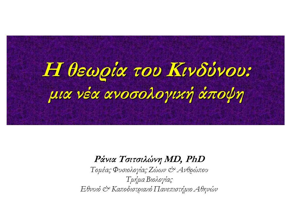 H θεωρία του Κινδύνου: μια νέα ανοσολογική άποψη Ράνια Τσιτσιλώνη MD, PhD Τομέας Φυσιολογίας Ζώων & Ανθρώπου Τμήμα Βιολογίας Εθνικό & Καποδιστριακό Πα