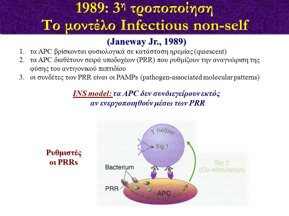 (Janeway Jr., 1989) 1.τα APC βρίσκονται φυσιολογικά σε κατάσταση ηρεμίας (quiescent) 2.τα APC διαθέτουν σειρά υποδοχέων (PRR) που ρυθμίζουν την αναγνώ