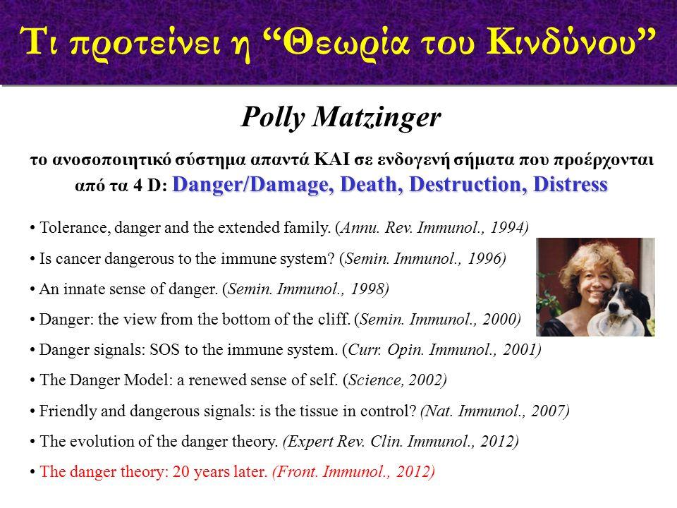 Τι προτείνει η Θεωρία του Κινδύνου Polly Matzinger Danger/Damage, Death, Destruction, Distress το ανοσοποιητικό σύστημα απαντά ΚΑΙ σε ενδογενή σήματα που προέρχονται από τα 4 D: Danger/Damage, Death, Destruction, Distress Tolerance, danger and the extended family.