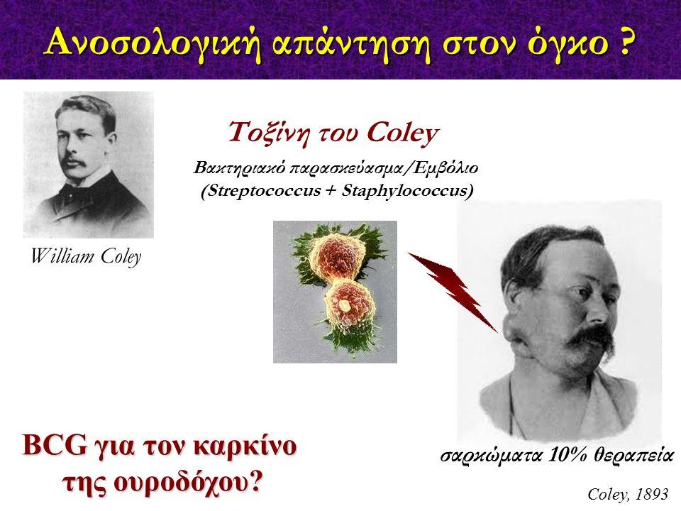 Ανοσολογική απάντηση στον όγκο ? Coley, 1893 BCG για τον καρκίνο της ουροδόχου? William Coley Τοξίνη του Coley Βακτηριακό παρασκεύασμα/Εμβόλιο (Strept