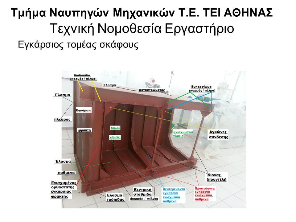 Τμήμα Ναυπηγών Μηχανικών Τ.Ε. ΤΕΙ ΑΘΗΝΑΣ Τεχνική Νομοθεσία Εργαστήριο Εγκάρσιος τομέας σκάφους
