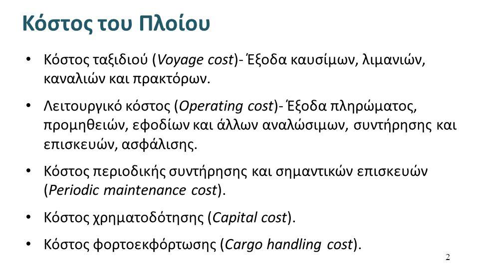 Κόστος ταξιδιού (Voyage cost)- Έξοδα καυσίμων, λιμανιών, καναλιών και πρακτόρων.