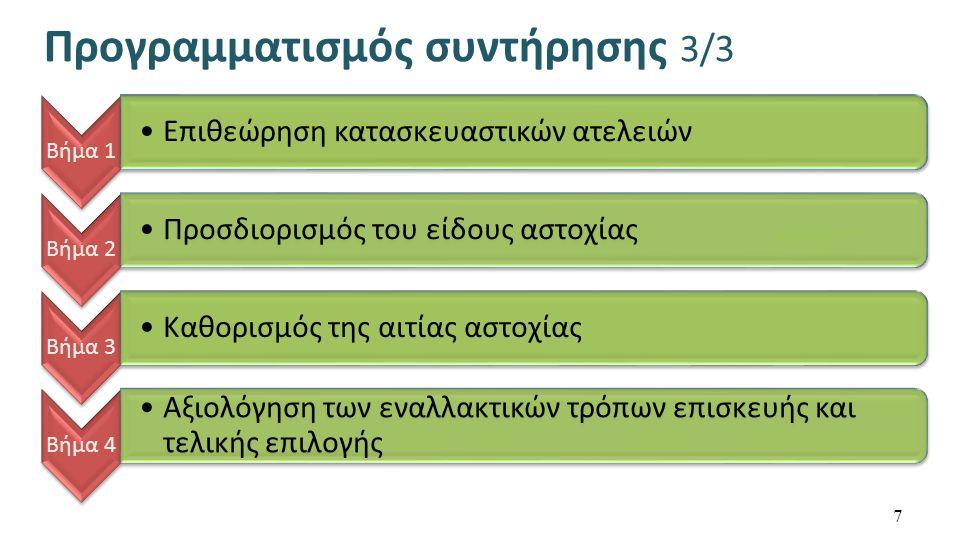Προγραμματισμός συντήρησης 3/3 Βήμα 1 Επιθεώρηση κατασκευαστικών ατελειών Βήμα 2 Προσδιορισμός του είδους αστοχίας Βήμα 3 Καθορισμός της αιτίας αστοχίας Βήμα 4 Αξιολόγηση των εναλλακτικών τρόπων επισκευής και τελικής επιλογής 7