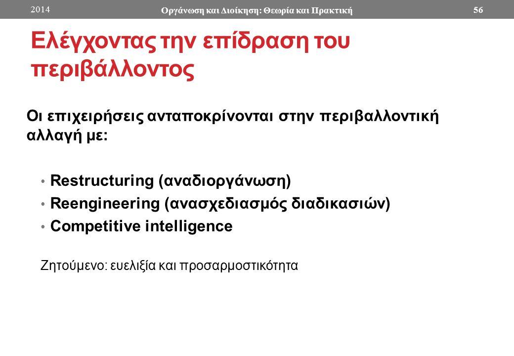Ελέγχοντας την επίδραση του περιβάλλοντος Οι επιχειρήσεις ανταποκρίνονται στην περιβαλλοντική αλλαγή με: Restructuring (αναδιοργάνωση) Reengineering (ανασχεδιασμός διαδικασιών) Competitive intelligence Ζητούμενο: ευελιξία και προσαρμοστικότητα 2014 Οργάνωση και Διοίκηση: Θεωρία και Πρακτική 56