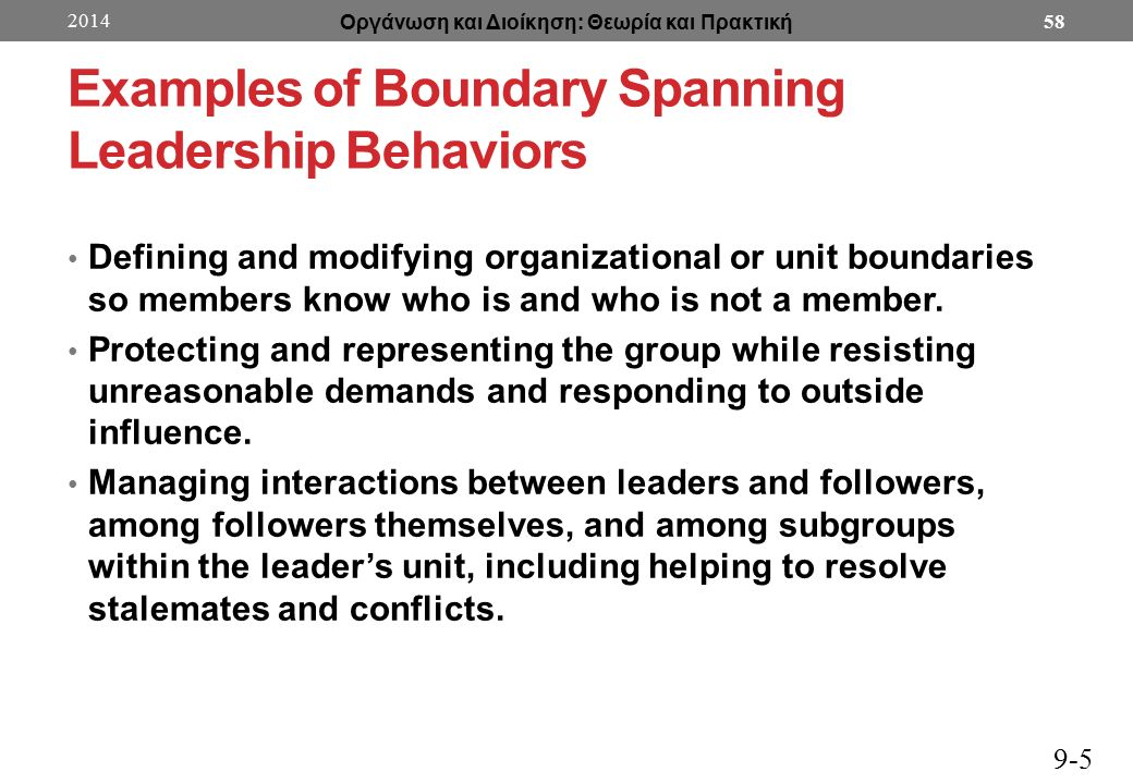 Examples of Boundary Spanning Leadership Behaviors Defining and modifying organizational or unit boundaries so members know who is and who is not a member.