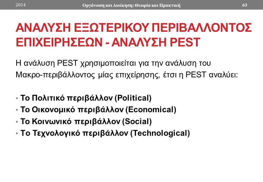 ΑΝΑΛΥΣΗ ΕΞΩΤΕΡΙΚΟΥ ΠΕΡΙΒΑΛΛΟΝΤΟΣ ΕΠΙΧΕΙΡΗΣΕΩΝ - ANAΛΥΣΗ PEST Η ανάλυση PEST χρησιμοποιείται για την ανάλυση του Μακρο-περιβάλλοντος μίας επιχείρησης, έτσι η PEST αναλύει: Το Πολιτικό περιβάλλον (Political) Το Οικονομικό περιβάλλον (Economical) Το Κοινωνικό περιβάλλον (Social) Tο Τεχνολογικό περιβάλλον (Technological) 2014 Οργάνωση και Διοίκηση: Θεωρία και Πρακτική 63