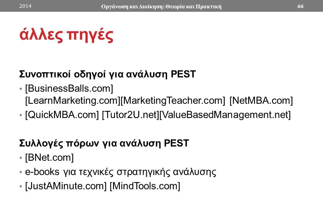 άλλες πηγές Συνοπτικοί οδηγοί για ανάλυση PEST [BusinessBalls.com] [LearnMarketing.com][MarketingTeacher.com] [NetMBA.com] [QuickMBA.com] [Tutor2U.net][ValueBasedManagement.net] Συλλογές πόρων για ανάλυση PEST [BNet.com] e-books για τεχνικές στρατηγικής ανάλυσης [JustAMinute.com] [MindTools.com] 2014 Οργάνωση και Διοίκηση: Θεωρία και Πρακτική 66