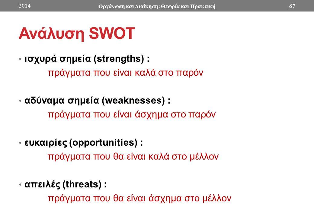 Ανάλυση SWOT ισχυρά σημεία (strengths) : πράγματα που είναι καλά στο παρόν αδύναμα σημεία (weaknesses) : πράγματα που είναι άσχημα στο παρόν ευκαιρίες (opportunities) : πράγματα που θα είναι καλά στο μέλλον απειλές (threats) : πράγματα που θα είναι άσχημα στο μέλλον 2014 Οργάνωση και Διοίκηση: Θεωρία και Πρακτική 67