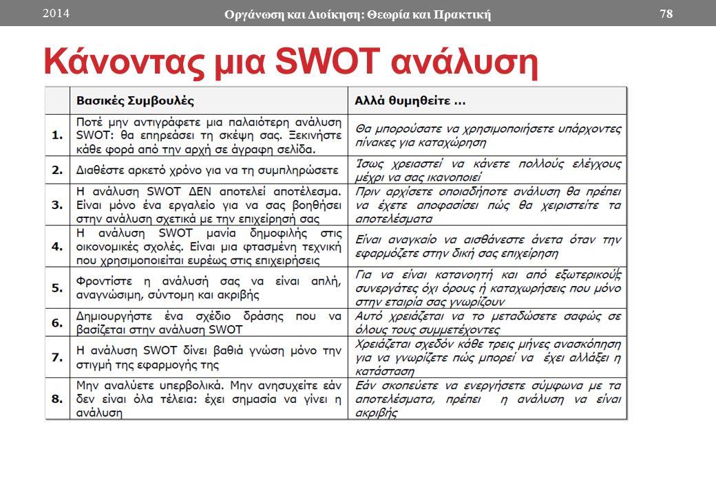 Κάνοντας μια SWOT ανάλυση 2014 Οργάνωση και Διοίκηση: Θεωρία και Πρακτική 78