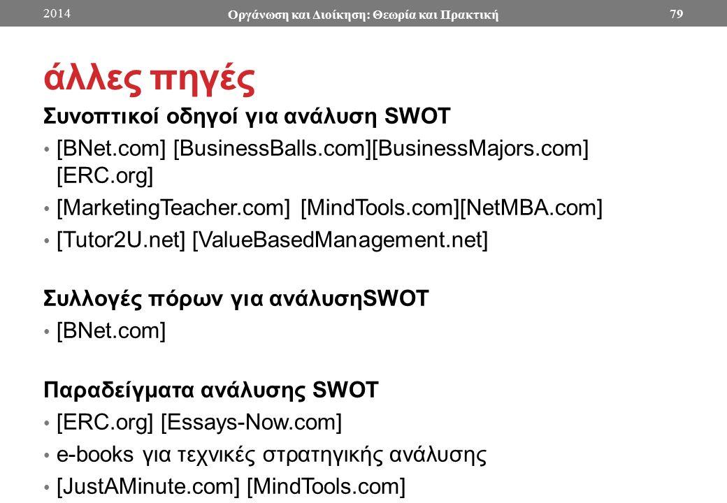άλλες πηγές Συνοπτικοί οδηγοί για ανάλυση SWOT [BNet.com] [BusinessBalls.com][BusinessMajors.com] [ERC.org] [MarketingTeacher.com] [MindTools.com][NetMBA.com] [Tutor2U.net] [ValueBasedManagement.net] Συλλογές πόρων για ανάλυσηSWOT [BNet.com] Παραδείγματα ανάλυσης SWOT [ERC.org] [Essays-Now.com] e-books για τεχνικές στρατηγικής ανάλυσης [JustAMinute.com] [MindTools.com] 2014 Οργάνωση και Διοίκηση: Θεωρία και Πρακτική 79