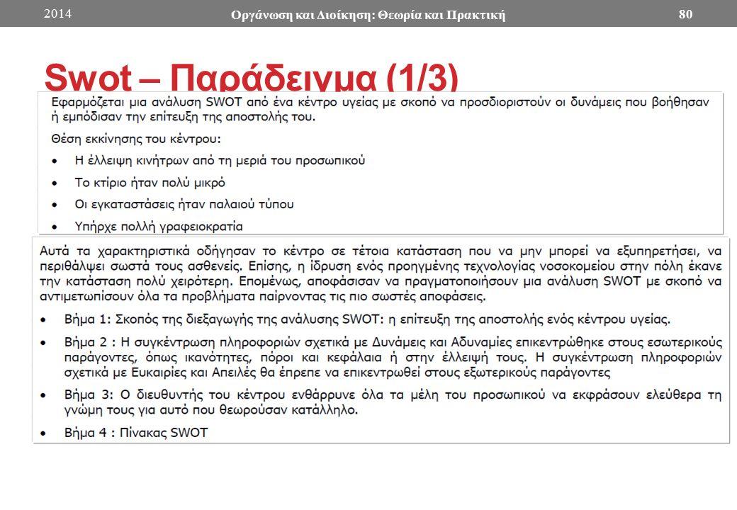 Swot – Παράδειγμα (1/3) 2014 Οργάνωση και Διοίκηση: Θεωρία και Πρακτική 80
