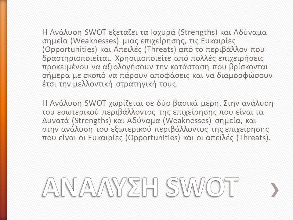 Η Ανάλυση SWOT εξετάζει τα Ισχυρά (Strengths) και Αδύναμα σημεία (Weaknesses) μιας επιχείρησης, τις Ευκαιρίες (Opportunities) και Απειλές (Threats) από το περιβάλλον που δραστηριοποιείται.