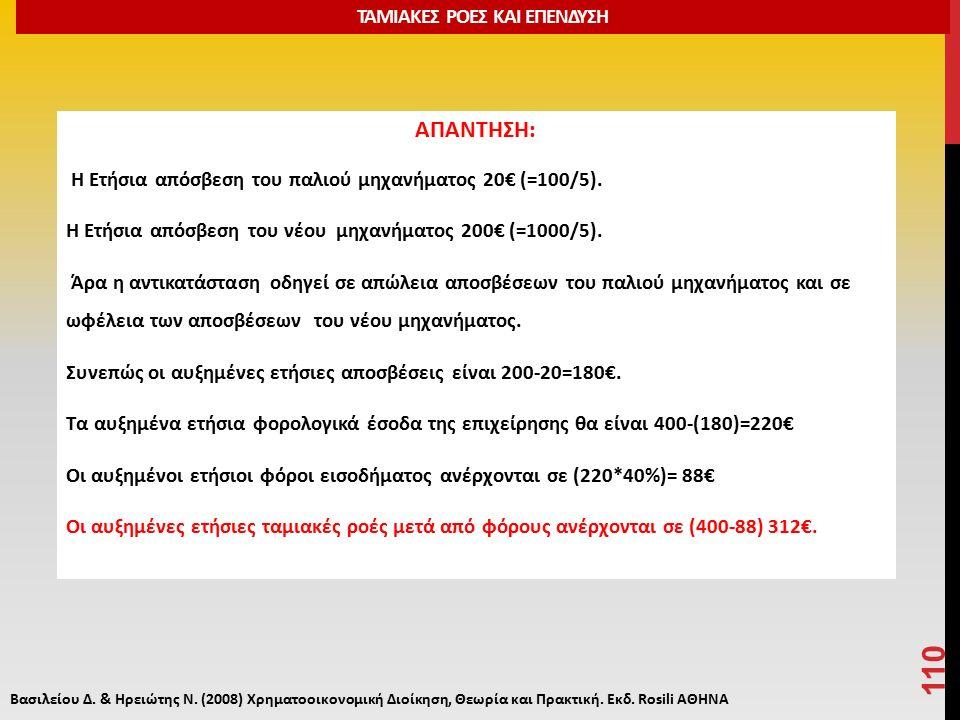 ΑΠΑΝΤΗΣΗ: Η Ετήσια απόσβεση του παλιού μηχανήματος 20€ (=100/5).