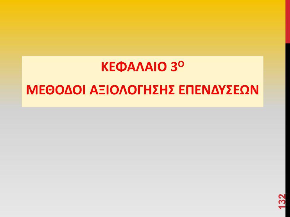 ΚΕΦΑΛΑΙΟ 3 Ο ΜΕΘΟΔΟΙ ΑΞΙΟΛΟΓΗΣΗΣ ΕΠΕΝΔΥΣΕΩΝ 132