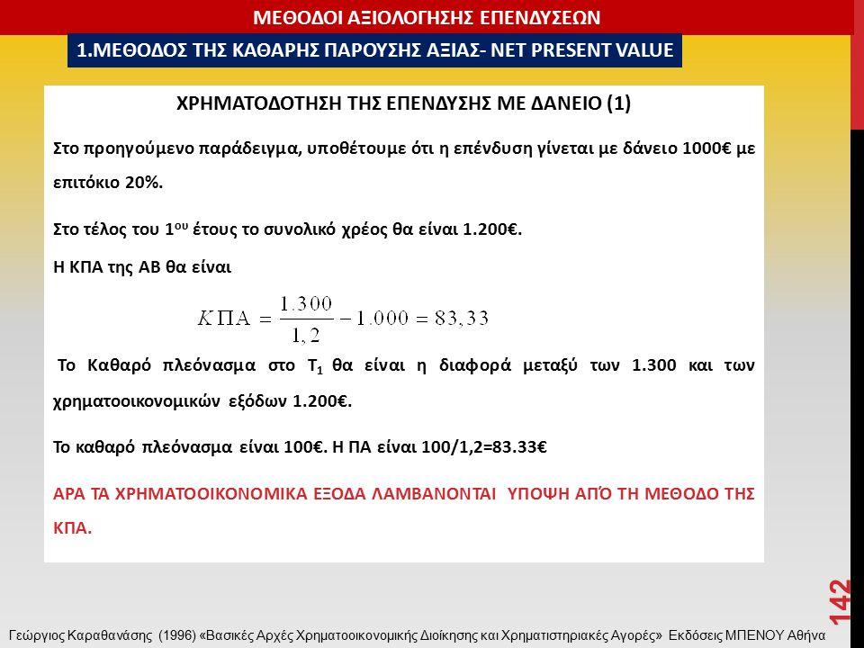 ΧΡΗΜΑΤΟΔΟΤΗΣΗ ΤΗΣ ΕΠΕΝΔΥΣΗΣ ΜΕ ΔΑΝΕΙΟ (1) Στο προηγούμενο παράδειγμα, υποθέτουμε ότι η επένδυση γίνεται με δάνειο 1000€ με επιτόκιο 20%.