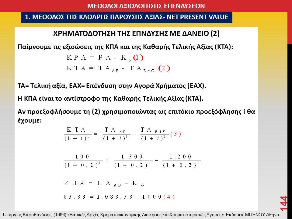 ΧΡΗΜΑΤΟΔΟΤΗΣΗ ΤΗΣ ΕΠΝΔΥΣΗΣ ΜΕ ΔΑΝΕΙΟ (2) Παίρνουμε τις εξισώσεις της ΚΠΑ και της Καθαρής Τελικής Αξίας (ΚΤΑ): ΤΑ= Τελική αξία, ΕΑΧ= Επένδυση στην Αγορά Χρήματος (ΕΑΧ).