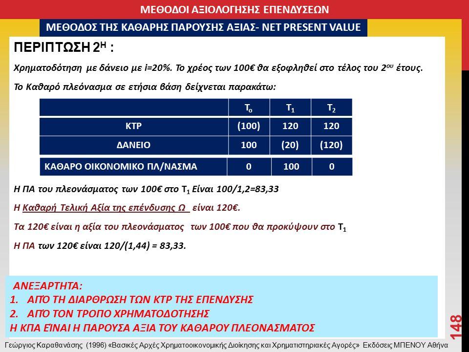 ΠΕΡΙΠΤΩΣΗ 2 Η : Χρηματοδότηση με δάνειο με i=20%.