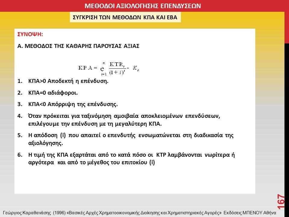ΣΥΝΟΨΗ: Α. ΜΕΘΟΔΟΣ ΤΗΣ ΚΑΘΑΡΗΣ ΠΑΡΟΥΣΑΣ ΑΞΙΑΣ 1.KΠΑ>0 Αποδεκτή η επένδυση.