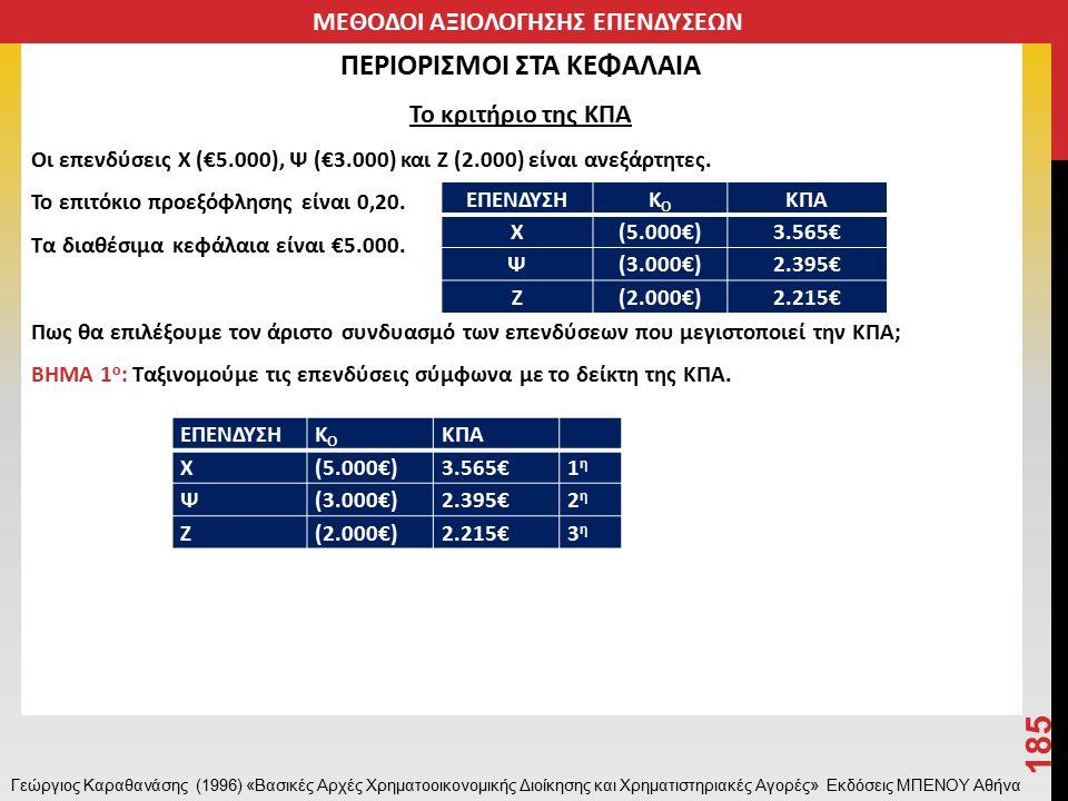 ΠΕΡΙΟΡΙΣΜΟΙ ΣΤΑ ΚΕΦΑΛΑΙΑ Το κριτήριο της ΚΠΑ Οι επενδύσεις Χ (€5.000), Ψ (€3.000) και Ζ (2.000) είναι ανεξάρτητες.
