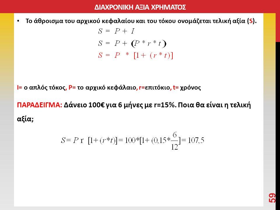 Το άθροισμα του αρχικού κεφαλαίου και του τόκου ονομάζεται τελική αξία (S).