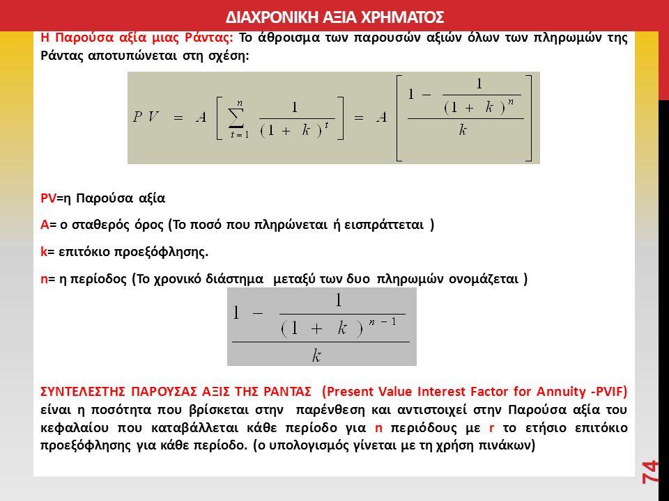 Η Παρούσα αξία μιας Ράντας: Το άθροισμα των παρουσών αξιών όλων των πληρωμών της Ράντας αποτυπώνεται στη σχέση: PV=η Παρούσα αξία A= ο σταθερός όρος (Το ποσό που πληρώνεται ή εισπράττεται ) k= επιτόκιο προεξόφλησης.