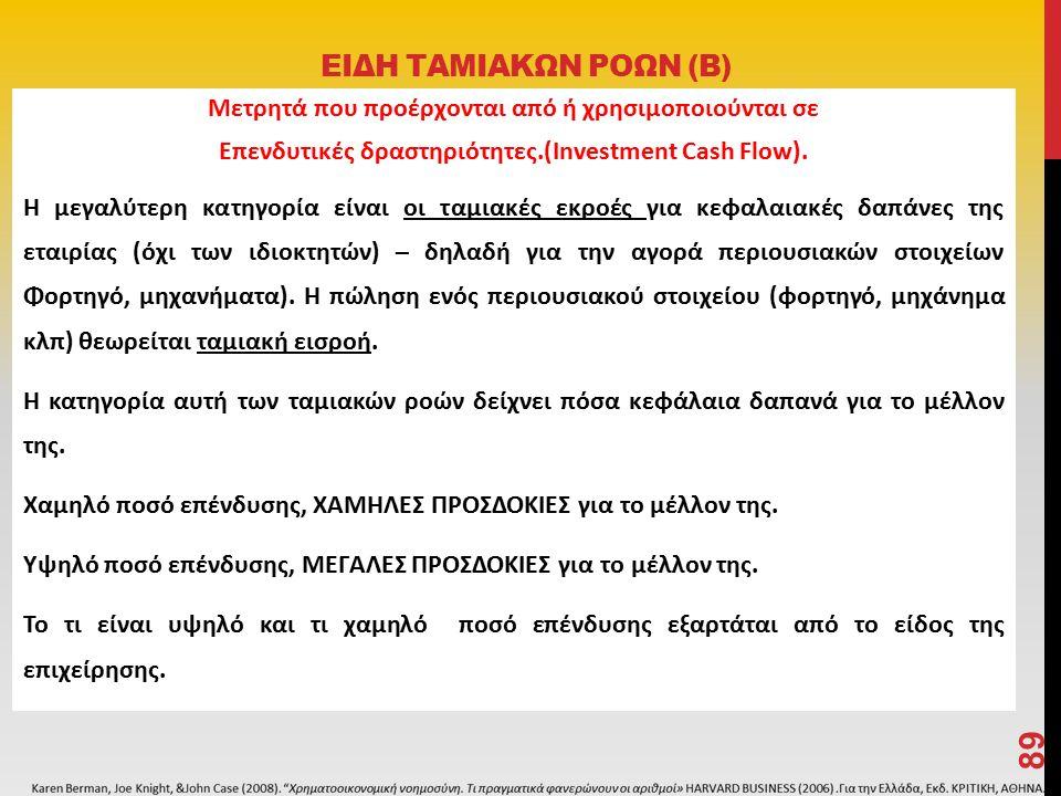 ΕΙΔΗ ΤΑΜΙΑΚΩΝ ΡΟΩΝ (Β) Μετρητά που προέρχονται από ή χρησιμοποιούνται σε Επενδυτικές δραστηριότητες.(Investment Cash Flow).