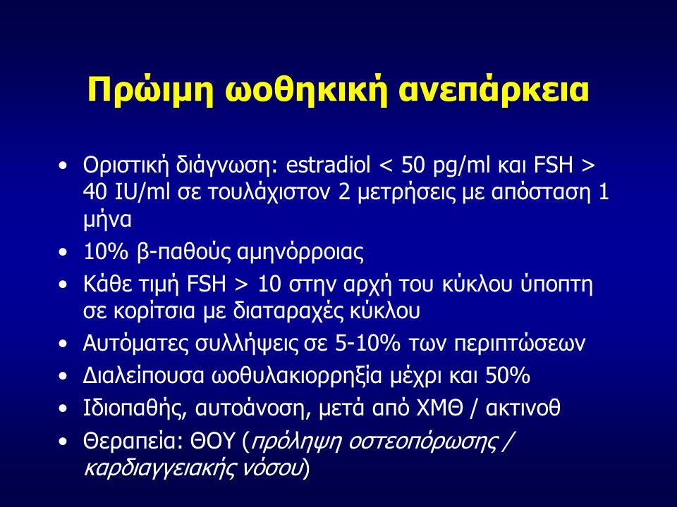 Πρώιμη ωοθηκική ανεπάρκεια Οριστική διάγνωση: estradiol 40 IU/ml σε τουλάχιστον 2 μετρήσεις με απόσταση 1 μήνα 10% β-παθούς αμηνόρροιας Κάθε τιμή FSH > 10 στην αρχή του κύκλου ύποπτη σε κορίτσια με διαταραχές κύκλου Αυτόματες συλλήψεις σε 5-10% των περιπτώσεων Διαλείπουσα ωοθυλακιορρηξία μέχρι και 50% Ιδιοπαθής, αυτοάνοση, μετά από ΧΜΘ / ακτινοθ Θεραπεία: ΘΟΥ (πρόληψη οστεοπόρωσης / καρδιαγγειακής νόσου)
