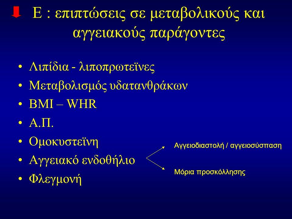 E : επιπτώσεις σε μεταβολικούς και αγγειακούς παράγοντες Λιπίδια - λιποπρωτεϊνες Μεταβολισμός υδατανθράκων ΒΜΙ – WHR Α.Π.