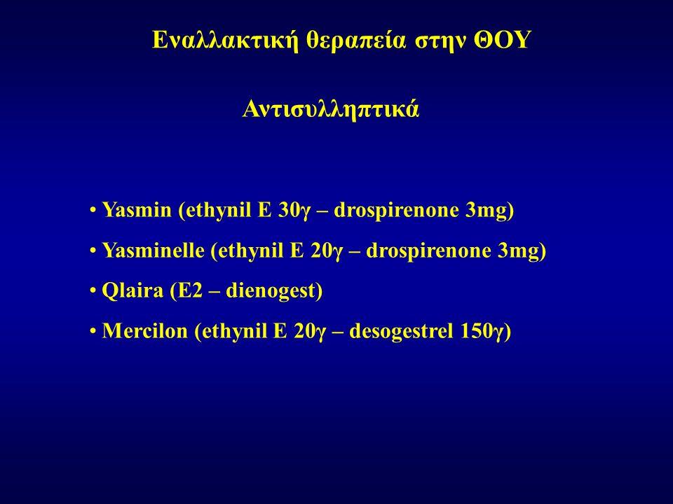 Εναλλακτική θεραπεία στην ΘΟΥ Αντισυλληπτικά Yasmin (ethynil E 30γ – drospirenone 3mg) Yasminelle (ethynil E 20γ – drospirenone 3mg) Qlaira (E2 – dienogest) Mercilon (ethynil E 20γ – desogestrel 150γ)